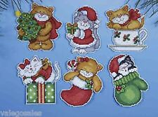 6 Kitten Christmas Tree Ornaments (Plastic Canvas) Design Works 1681