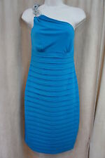 London Times Dress Sz 6 Turquoise One Shoulder Tiered Evening Cocktail Dress