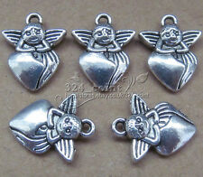 P139 15pcs Tibetan Silver Charms 2-Sided Angel Accessories Wholesale