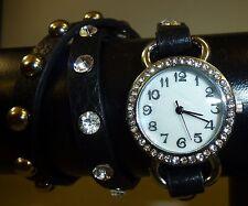 Damen Mädchen Strass Nieten Wrap Wickel 3x Armbanduhr Armband Uhr schwarz - NEU