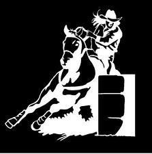 WHITE Vinyl Decal Girl Barrel Racer rodeo truck trailer horse country sticker
