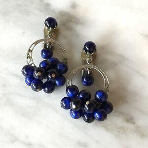 Vintage Art Glass Dangle Earrings Cobalt Blue