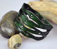 S384 COOL Women's Beauty Hollowed Floral Leather Bracelet Wristband Cuff GREEN