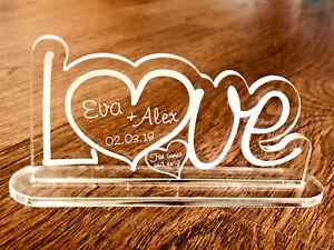 1 Aufsteller LOVE mit Wunschgravur Acryl Liebe Hochzeit Valentinstag Geschenk