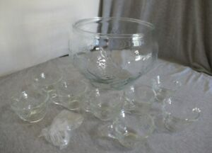 """12"""" W x 8"""" H Embossed Rose Glass Punch Fruit Bowl w 8 Cups & 8 Hooks Party Décor"""