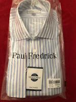 Paul Fredrick 17.5/35 Blue Stripes Cutaway Classic Fit Impeccable NI FC NWT