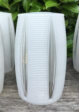 Vintage Retro Midcentury Opaque White Ridged Glass Lampshade Clear Glass Section