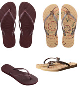 Womens Havaianas Flip Flops Authentic Brazil Metallic Grape Wine or Beige