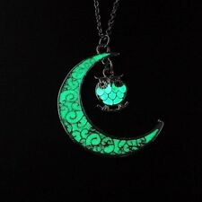 """1-1/2"""" CRESCENT MOON with GLOW IN THE DARK Dangle OWL 18"""" Necklace Luminous"""