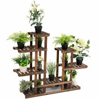 6Tier 13 Pots Wooden Plant Flower Display Stand Wood Shelf Storage Rack Garden
