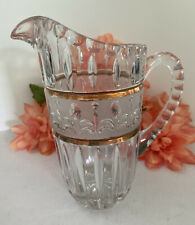 """Crystal Cut Glass Pitcher Decanter Carafe Clear Frosted Gold Trim Heavy 7.5"""""""