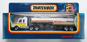 1990 Matchbox Convoy CY-17 Scania Tanker WHITE / CHROME / SHELL GASOLINE