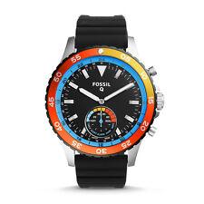 FOSSIL Watch FTW1124 Men's Q Crewmaster Hybrid Smartwatch Silicone Strap Black*
