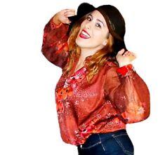 Vintage Retro 70s semi sheer disco floral hippie boho blouse top shirt