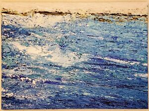 "5""x7"" kimartist BEACH WAVE 2 original art landscape ocean painting seascape sfa"