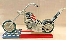 "American Flag Motorcycle Chopper Statue 11"" Long 7.5"" Tall Original Box Unbroken"