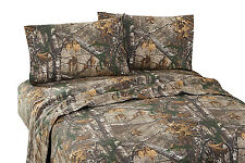 Realtree Xtra Queen Sheet Set Camouflage Percale 4pcs Deer Hunting Rustic Cabin