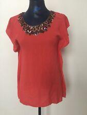 NWOT BCBG Max Azria Ladies Coral Beaded Silk Tunic Shirt Size XS