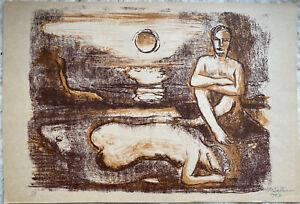 """Hermann Max Pechstein """"Abend"""" Lithografie, num. + signiert. Böttcher-Mappe"""