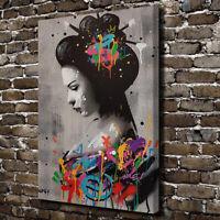 Japanese Geisha Poster Graffiti Canvas Prints Painting Wall Art For Home Decor