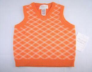 Boys STRASBURG orange white boutique sweater vest 2T 3T NWT argyle plaid Easter