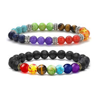 2 Pcs 7 Chakra Natural Lava Rock Stones Beaded Bangle  Anxiety Women Bracelets