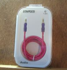 Staples Braided 3.5mm Auxiliary Audio Cable, 6 ft., Pink/Purple