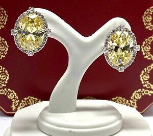 .925 Sterling Silver, 18.50ctw Vivid Yellow & White Topaz Earrings