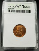 1952 S/S Lincoln Wheat Cent Penny ANACS MS64 RB RPM 014 Variety DMR-016