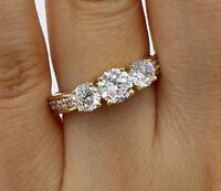 2.00 Ct 14K Yellow Gold Round 3 Stones Wedding Engagement Wedding Promise Ring
