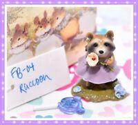 ❤️Wee Forest Folk FB-04 Raccoon Flower Babies Retired Purple Dress FB-4❤️