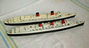 Queen Mary Queen Elizabeth Ship Diecast Model Lot 2 TRI-ANG England
