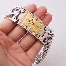 "9""Heavy Mens Jewelry 316L Stainless Steel White CZ Cross Chain Bracelet Bangle"