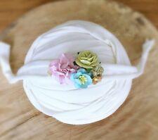 Ivory Soft Cotton Jersey Stretchy Wrap Headband Set Baby Newborn Photo Prop