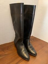 Valerie Stevens Black Leather Tall Boots With Criss Cross Patterned Back Sze 8.5