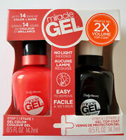 Sally Hansen Miracle Gel Color Polish 411 Ba-BLOOM & Gel Top Coat Step2 Set  Neu