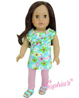 """Doll Clothes 18"""" Pants Pink Leggings Top Turquois Floral Fit American Girl Dolls"""