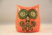 Vtg Mid Century Mod Fitz & Floyd Paper Mache Owl 00006000  Bank Money Box Far Out Dude!