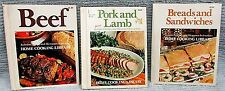 3 Old 1970s Home Cooking Library hc Recipe Books Pork Lamb Beef Bread FREE S/H