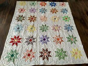 """Vintage Star Flower Pattern Blanket Quilt Comforter  77"""" X 89"""" Full Estate Retro"""