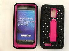 For ZTE WARP 4G N9510 BLACK PINK CLEAR DIAMOND Symbiosis SKIN GRIP CASE COVER