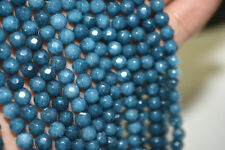 """New Natural 4mm dark Aquamarine Faceted Gems Round Loose Beads 15"""" AA"""