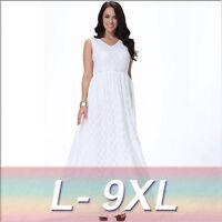Women Oversize White Lace Long Bridemaid Gown Evening Maxi Dress Plus Size
