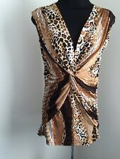 Cache Gold Stretch Blouse Leopard Animal Chain Gold Brown Palettes Shirt size S