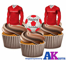 12 x Liverpool Happy Birthday Football Pack EDIBLE CUP CAKE TOPPERS Stand Ups