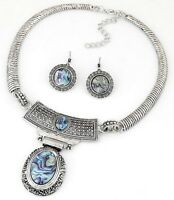 Fashion Vintage Women Bib Chain Pendant Collar Statement Necklace Set Earrings