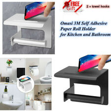 Self Adhesive Wall Mounted Toilet Paper Phone Holder Rack Tissue Roll Stand