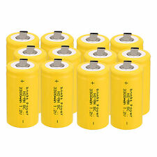 12pc Anmas Power Sub C SC 1.2V 3000mAh Ni-MH NiMH Rechargeable Batteries ,Yellow