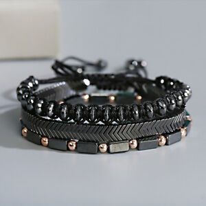 3pcs Hematite Magnet Cooper Stone Beaded Bracelet Black Men Braid Jewelry Gifts