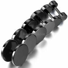 Stainless Steel Men Unisex Fake Black Ear Stretcher Plugs Cheater Earrings 2pcs